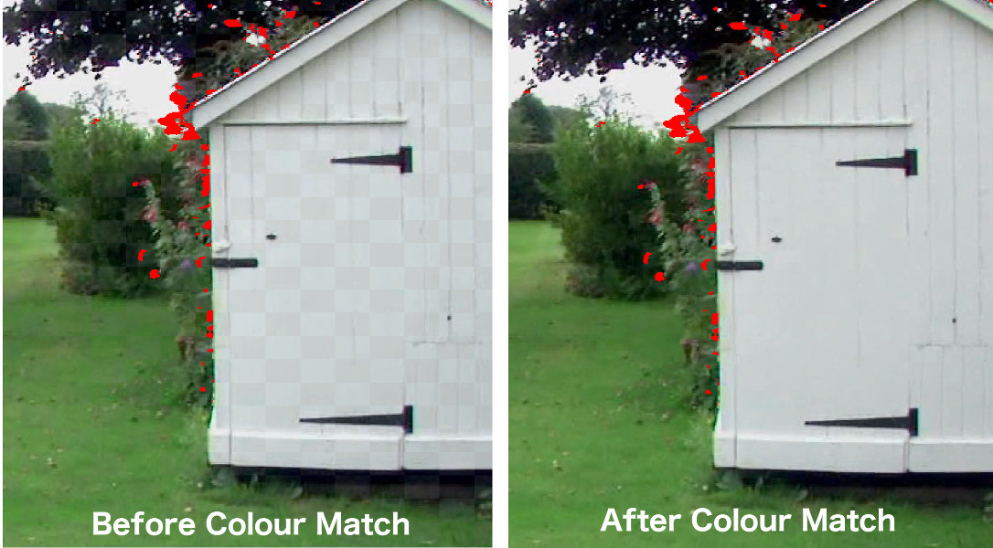 A before and after comparison of Colour Match